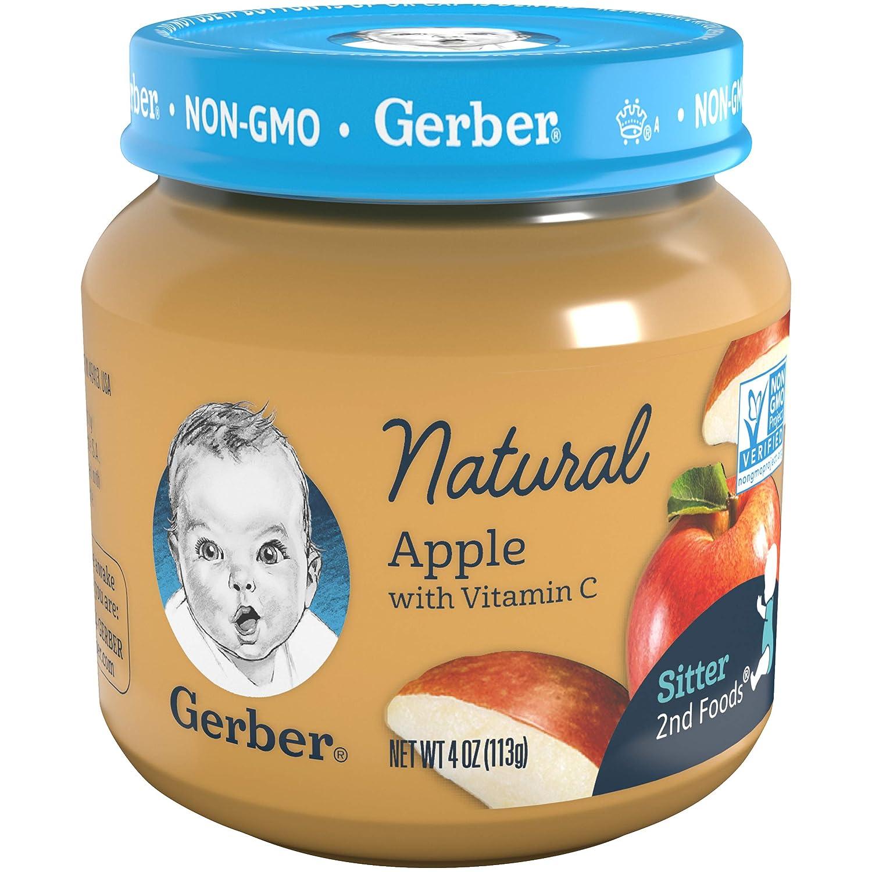 Gerber 2nd Foods Baby Food Jars, Natural Apple, 4 Ounce (Pack - 12)