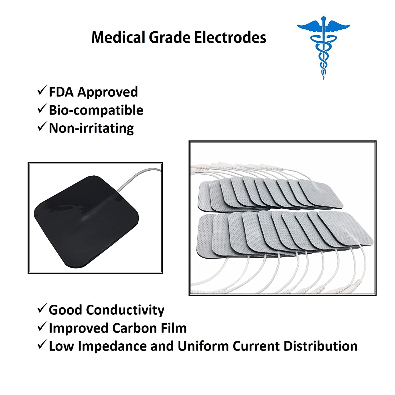 Electrode Pads For Tens Unit Self Adhesive And Reusable Fda S Wiring Diagram Electrodes Machine Cleared 2 X Inches Square Pin