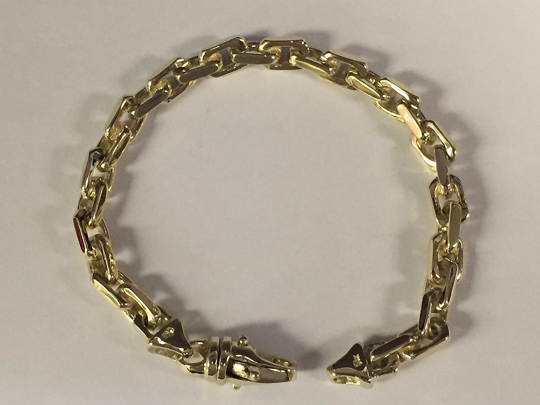 b369bde653a5f6 Amazon.com: 14K Solid Yellow Gold Heavy Handmade Rolo Link Men'S Chain/ Bracelet 8.5