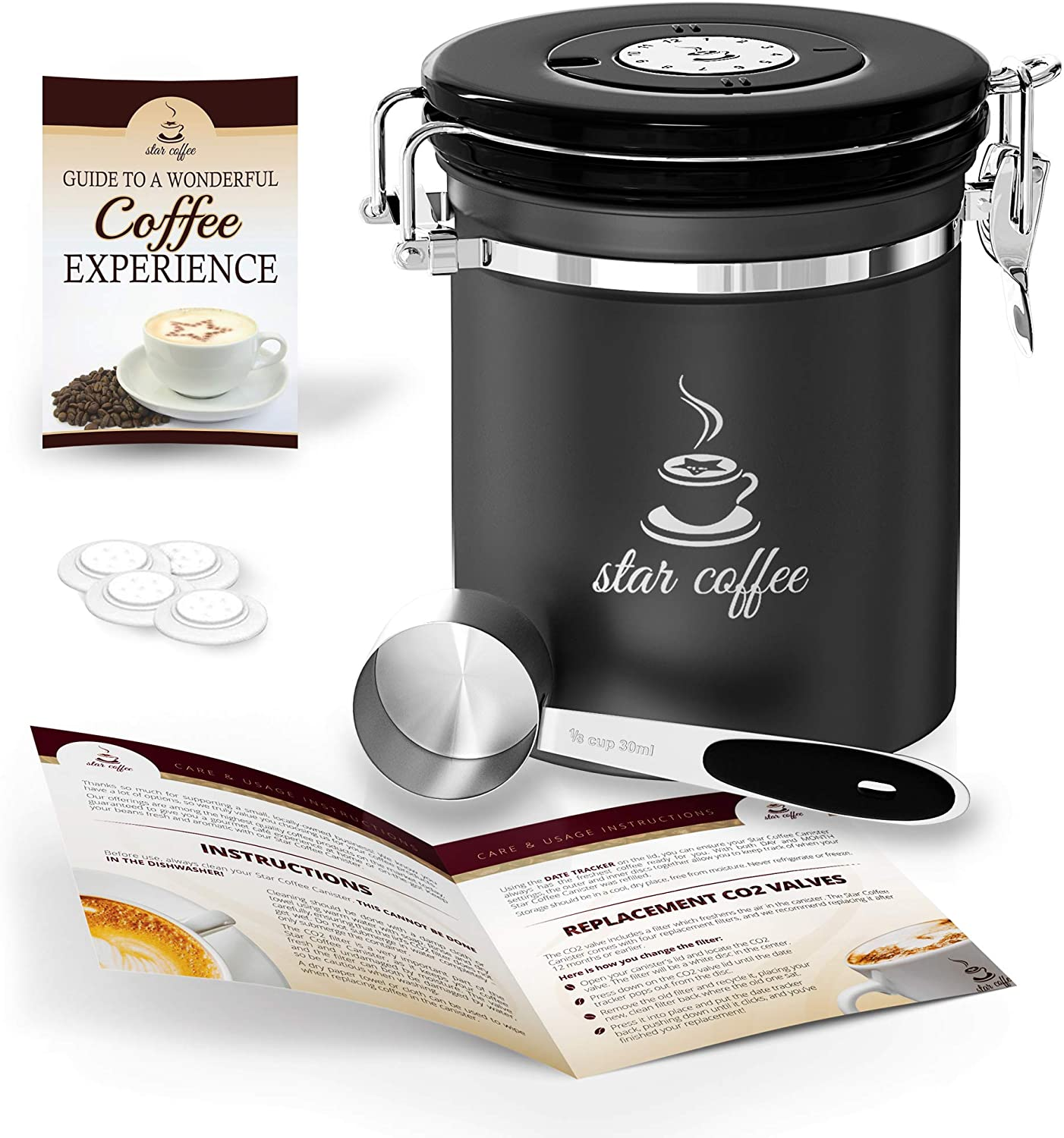 Star Coffee Container Airtight Coffee Storage - Stainless Steel Canister with Measuring Scoop for Beans or Ground Coffee, 5 CO2 Valve Filters, Freshness Calendar, eBook, Medium Coffee Holder 16oz