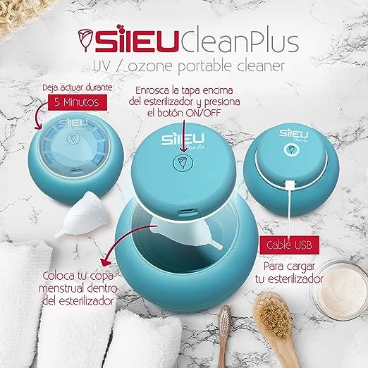 Sileu Clean Plus - Esterilizador Eléctrico Recargable USB Compacto para Copas Menstruales - Lámpara de Cuarzo UV y Ozono - Morado