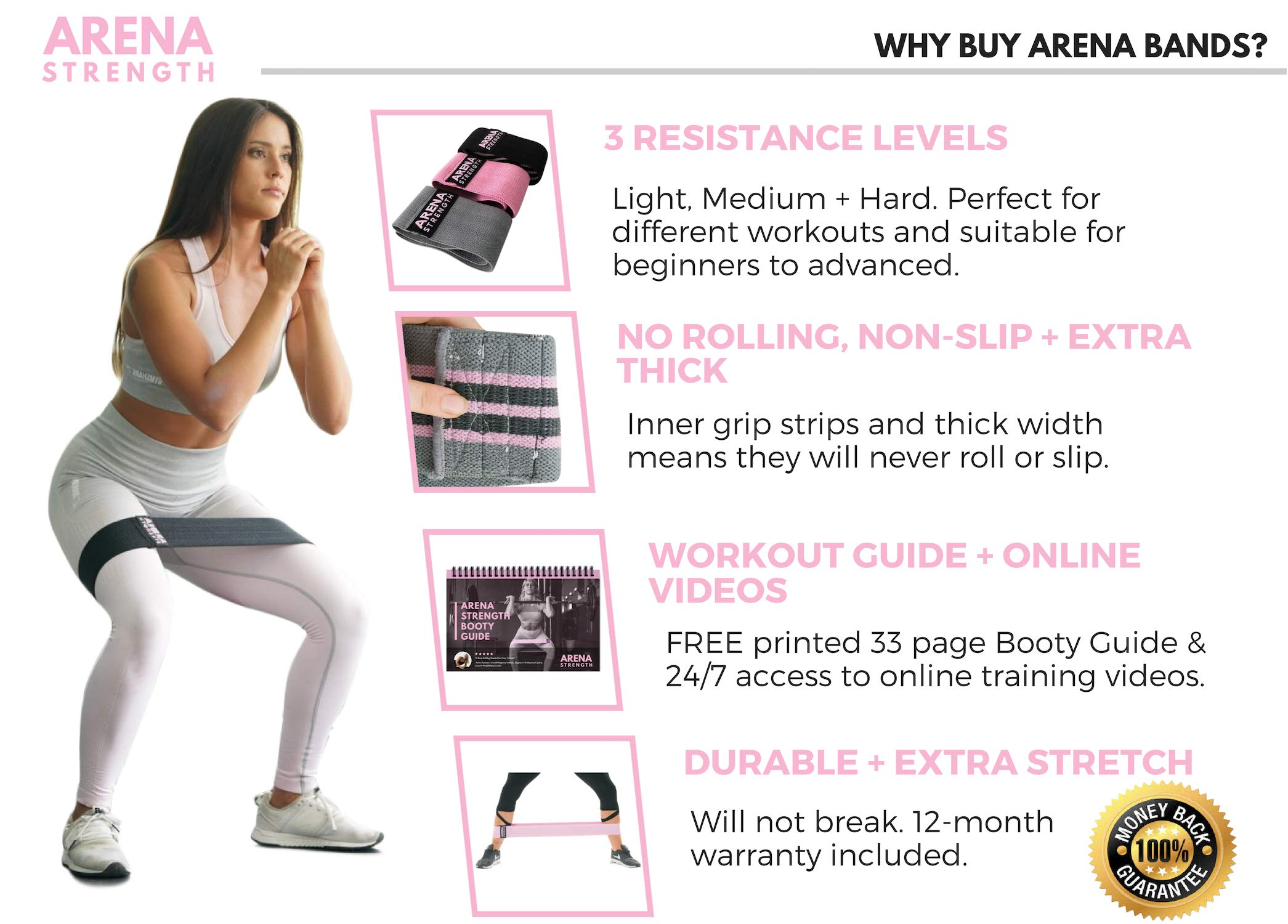 Arena Strength Booty Fabric Bands: Fabric Resistance Bands for Legs and Butt: 3 Pack Set. Perfect Workout Hip Band Resistance. Workout Program and Carry Case Included by Arena Strength (Image #2)