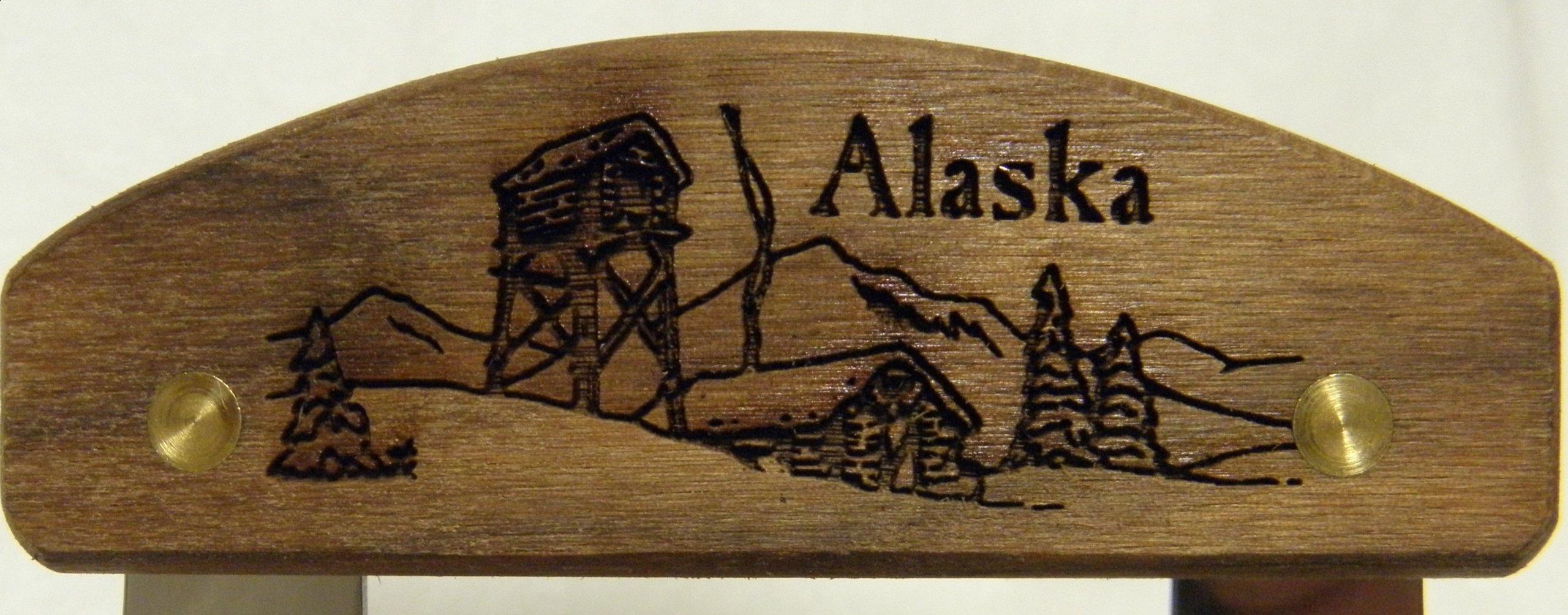 Alaskan Ulu, Inupiat Style with ''Cache Scene'' Etched Walnut Handle, 6''