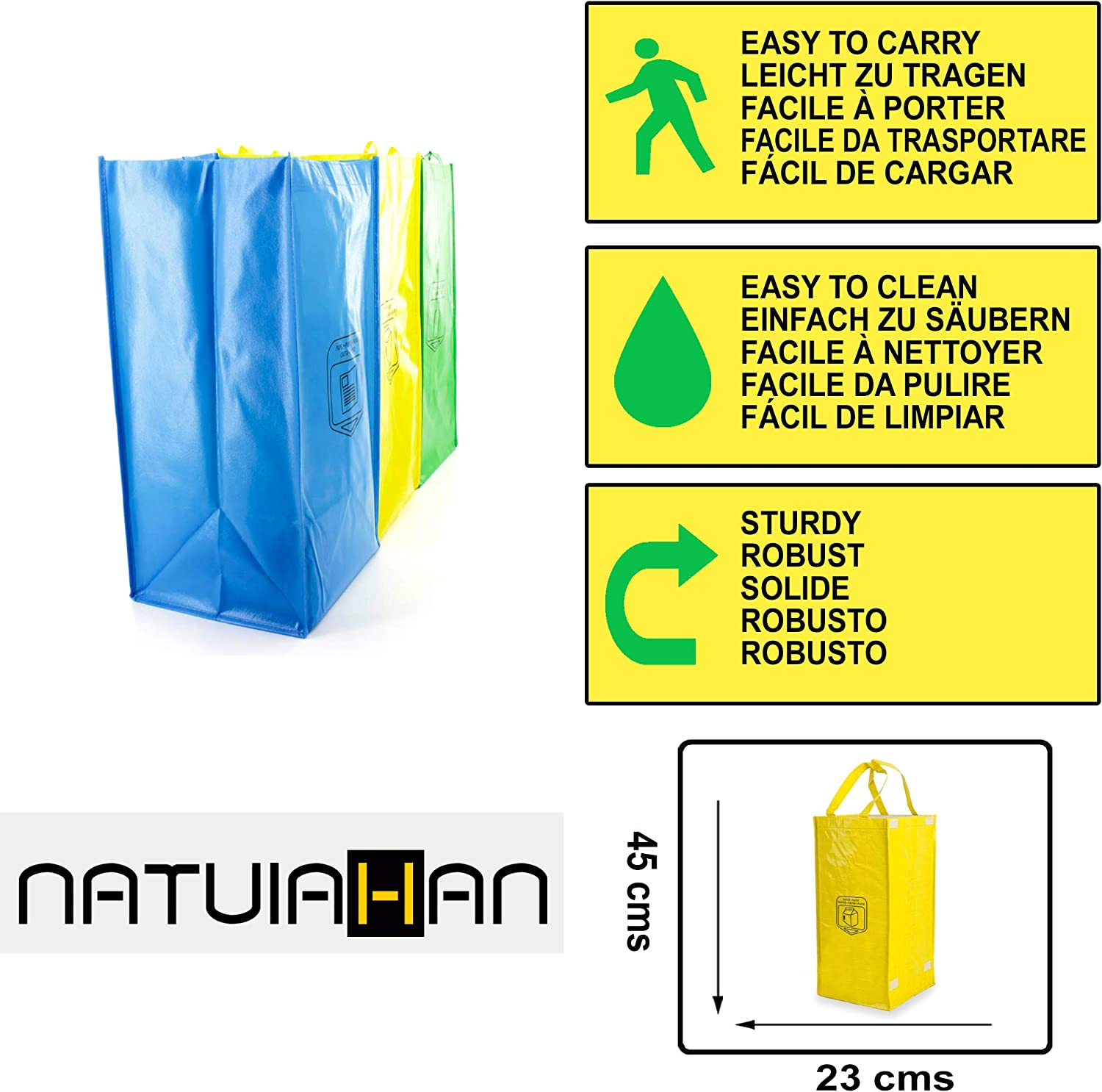 Practical and Easy to Clean and Carry. 3 Long Lasting Recycling Bags Natuiahan Pack Sturdy