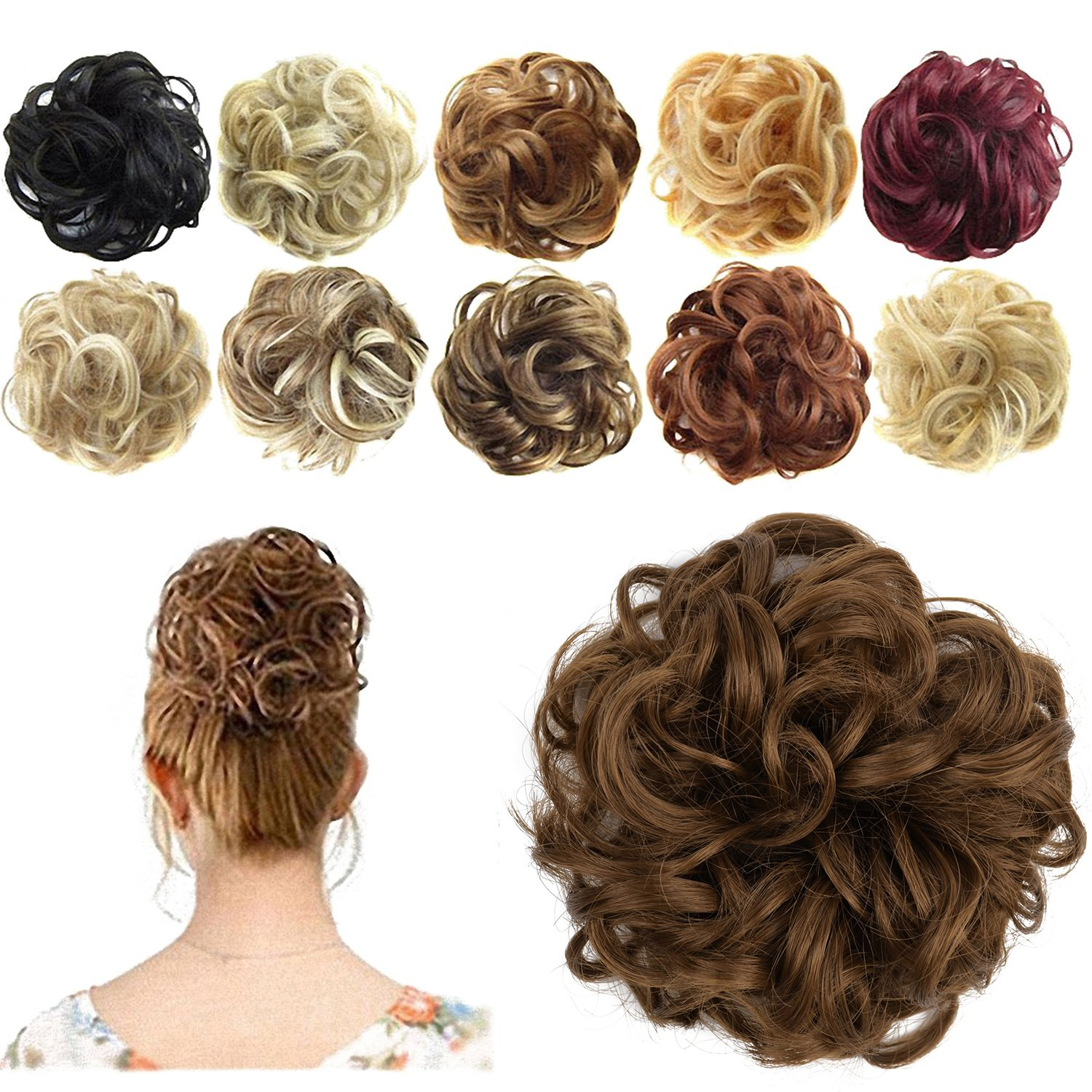 FESHFEN Messy Hair Scrunchies Hair Bun Extensions Curly Wavy Hair Pieces For Women Updo Ponytail Hair Extensions Hair Donut Hair Chignons Hair Accessories - A11 Black & Burgundy