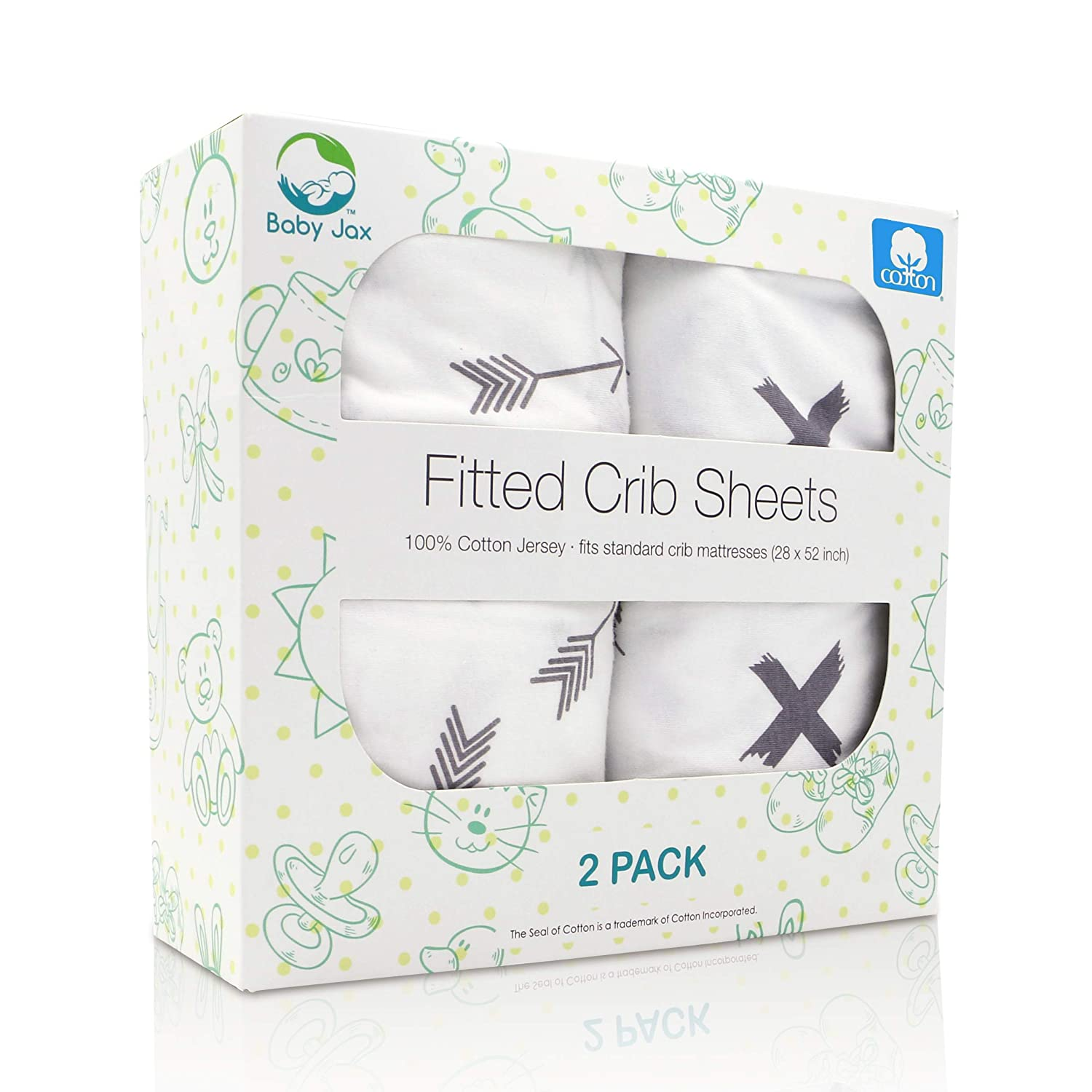 Premium Grey Fitted Crib Sheet Set (2 Pack) | Full Size | 100% Jersey Cotton | Certified No Harmful Chemicals | Adorable Modern Gray Arrows + X Designs | Infant Baby Crib Sheets for Boys and Girls