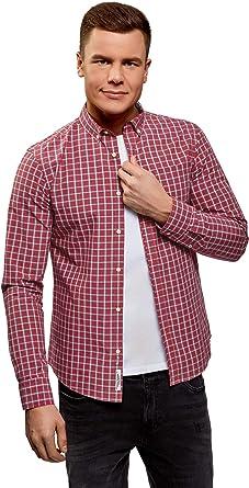 oodji Ultra Hombre Camisa Recta a Cuadros: Amazon.es: Ropa y accesorios