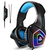 Gaming Headset, SEPOVEDA PS4 Gaming Headset for PC, Xbox One, Noise Cancelling Over Ear Gaming Headphones with Mic, LED Light, Bass Surround, Soft Earmuffs for Laptop, Mobile and Switch (Blue)