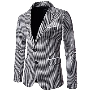 98f6a631146cc9 Susan1999 Plaid Blazer Mens Single Breasted Casual Slim Fit Suit Jacket  Winter Blazer at Amazon Men's Clothing store: