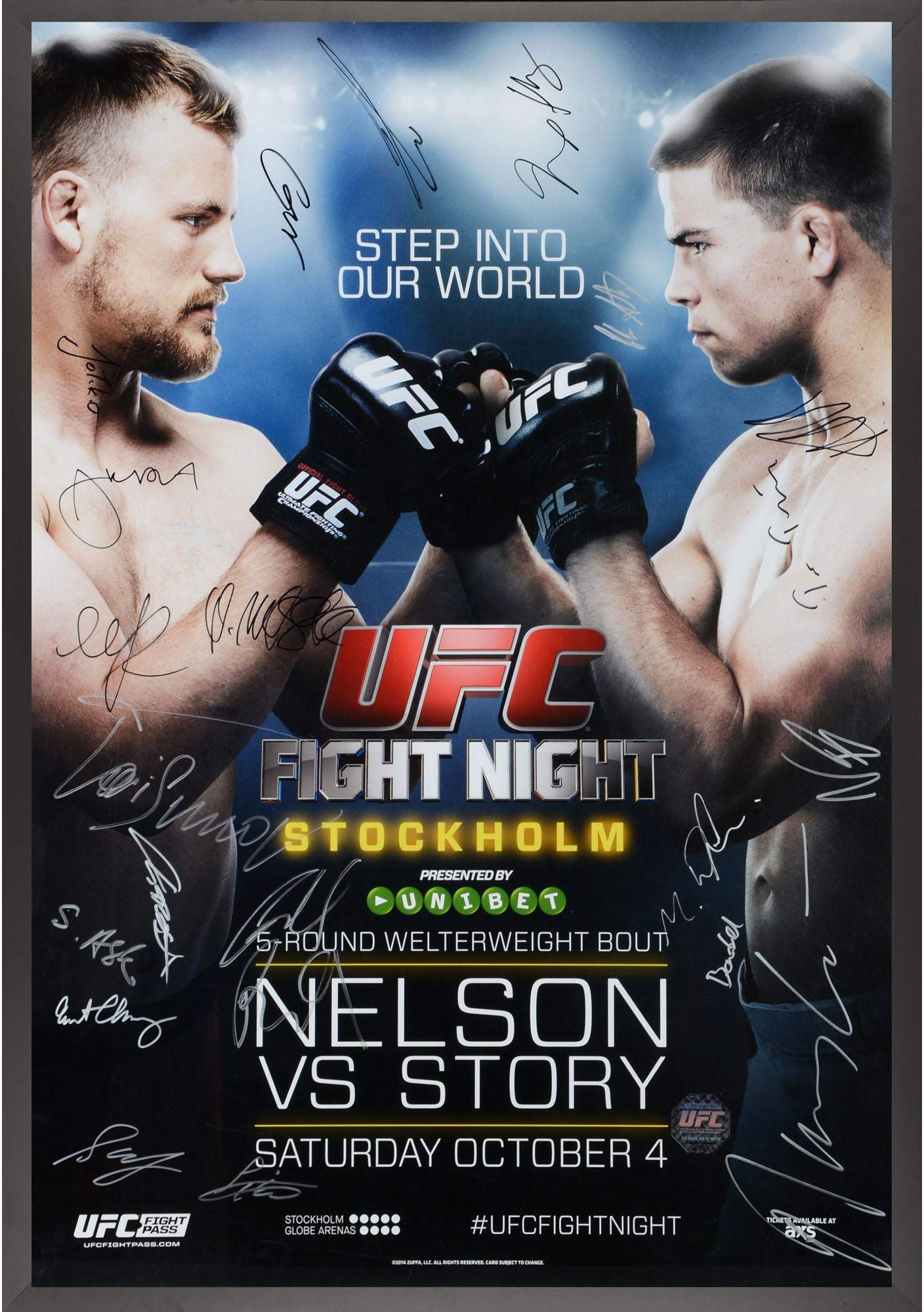 "UFC Fight Night 53 Nelson vs. Story Framed Autographed 27"" x 39"" 22 Signature Fight Poster Fanatics Authentic Certified"
