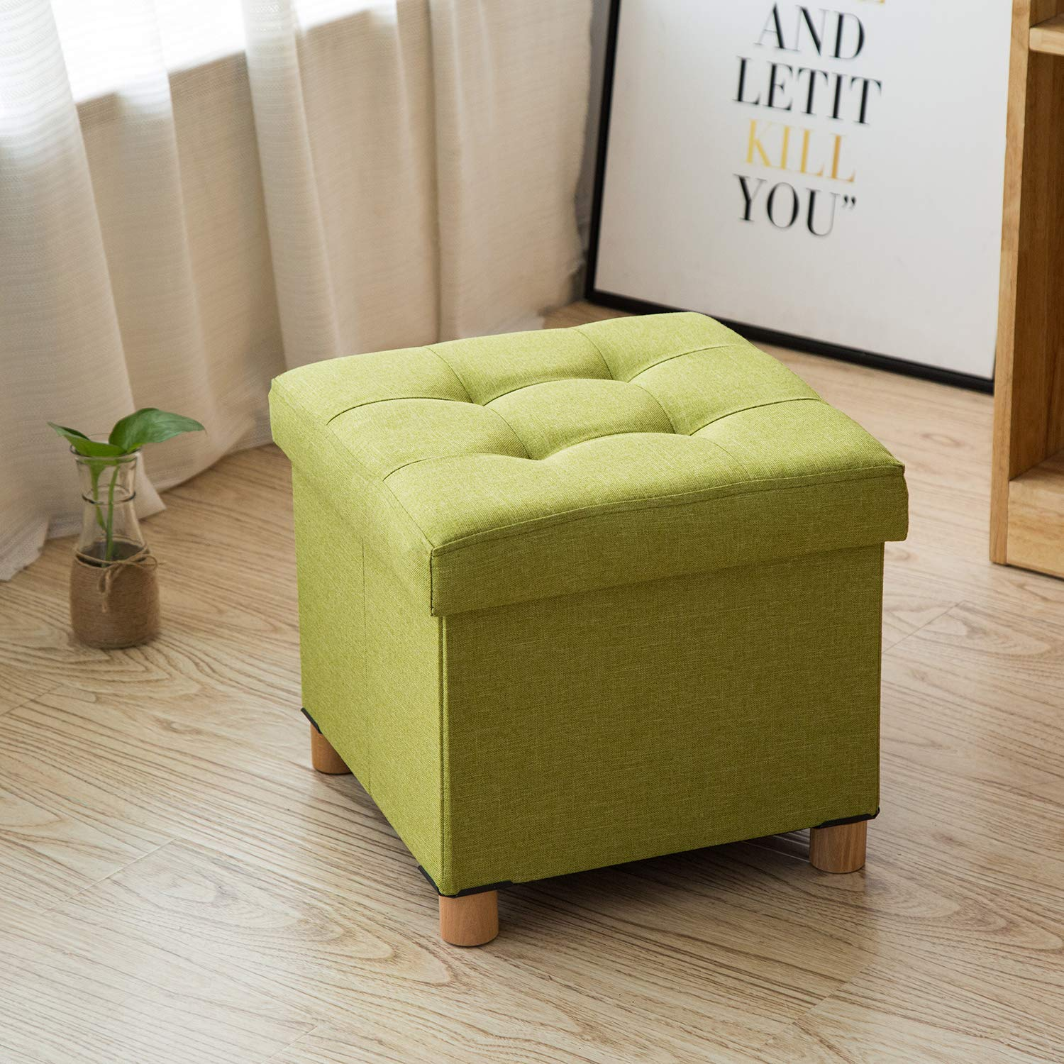 Cassilia Foldable Storage Ottoman Square Cube Coffee Table Multipurpose  Footrest Stool for Bedroom and Living Room Storage (Green Ottoman)