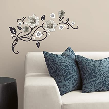 RoomMates RMK3272SCS Floral Scroll Peel And Stick Wall Decals With 3D  Cutout Flowers