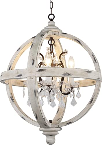 Deluxe Lamp Farmhouse 4 Light Candle Style Globe Clear Glass Crystals in Withered White Wood Finish Chandelier Wood Finish Antique Metal Crystal Inside