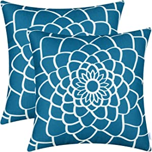 CaliTime Pack of 2 Soft Canvas Throw Pillow Covers Cases for Couch Sofa Home Decor Dahlia Floral Outline Both Sides Print 20 X 20 Inches Sea Blue