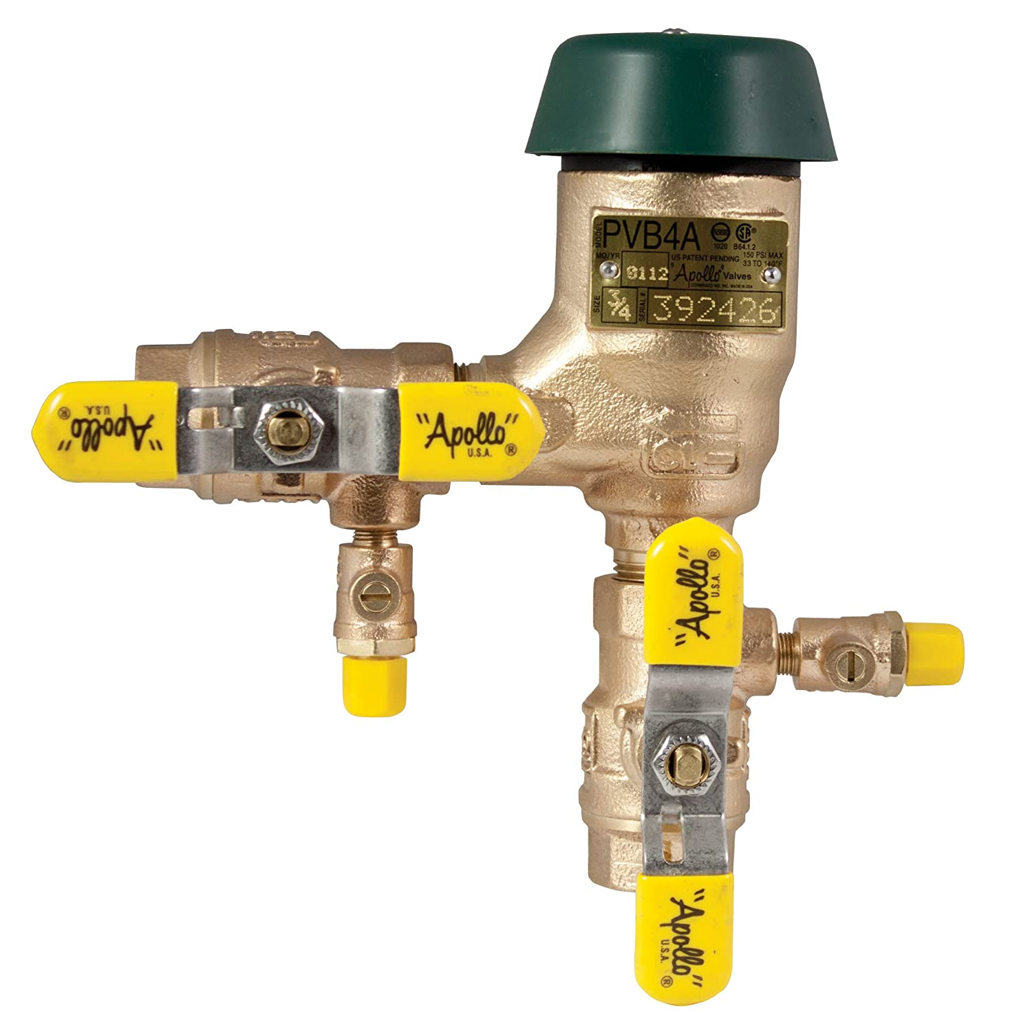 Apollo 4A50402F Bronze Freeze Resistant Pressure Vacuum Breaker with Ball Valve and SAE Threaded Test Cocks 3//4 Size