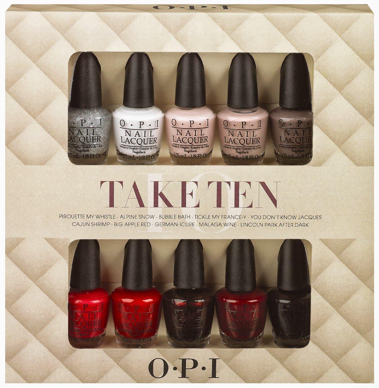 OPI Nail Polish Lacquer Mini Gift Set, Take Ten 3.75 ml - Pack of 10 ...