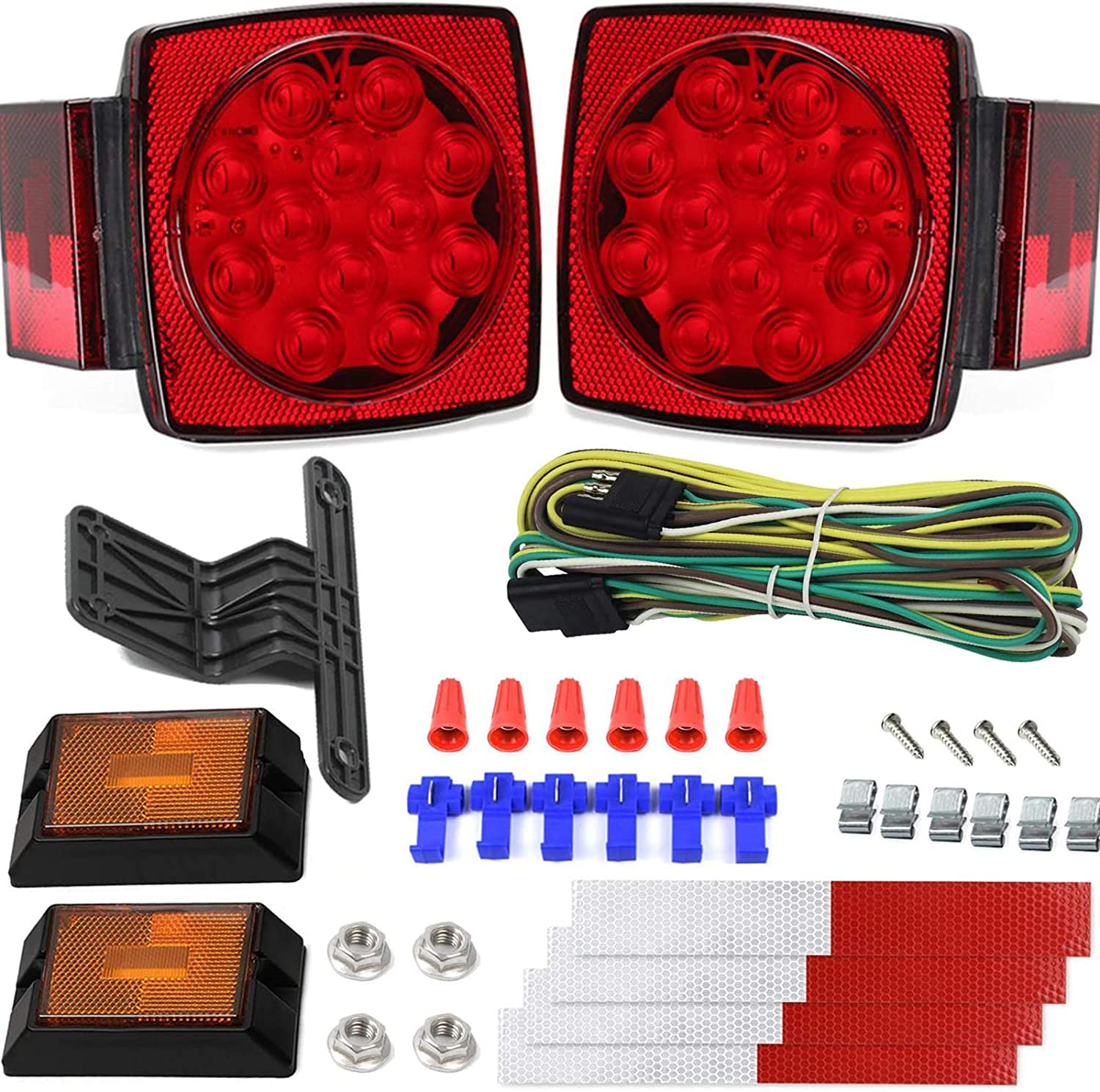 Amazon.com: 12V Trailer Light Kit DOT Certified Utility Trailer Lights for  Boat RV Car Easy Assembly with Wire Harness Wafer LED 50,000H Lifespan  Waterproof Durable All-in-one Tail Light Kit for Under 80Amazon.com