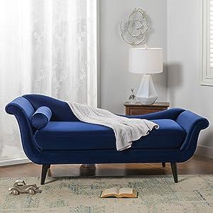 Sandy Wilson Home Kai Chaise Sofa, Navy Blue