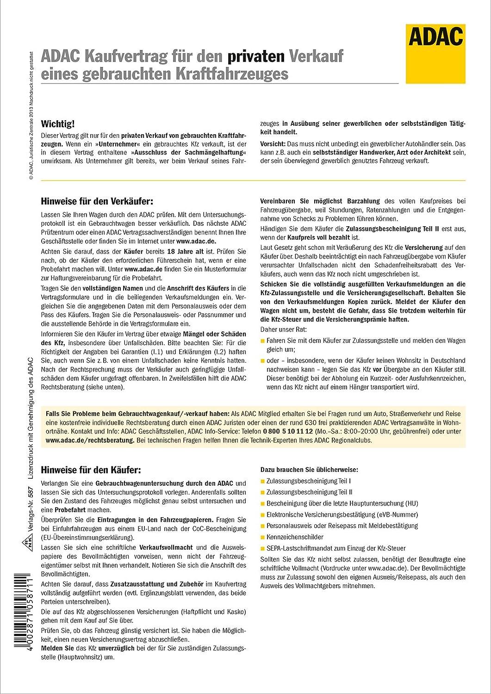 ADAC-Kaufvertrag für priv. Verkauf gebrauchtes Kfz - SD, 10 x 10 Blatt, A10,  Hinweise + Veräußerungsanzeigen