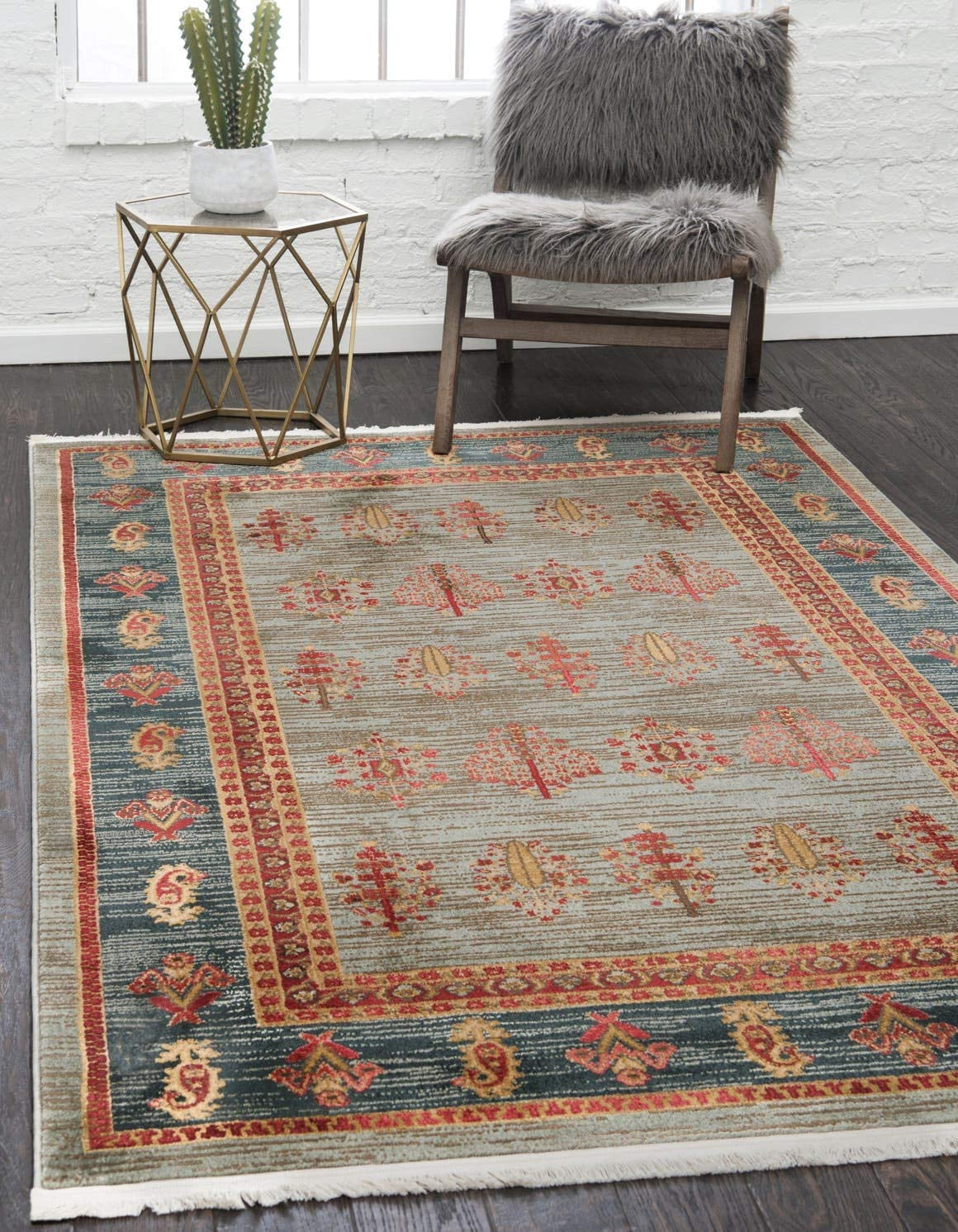 Unique Loom Fars Collection Tribal Modern Casual Light Blue Area Rug 8 0 x 10 0