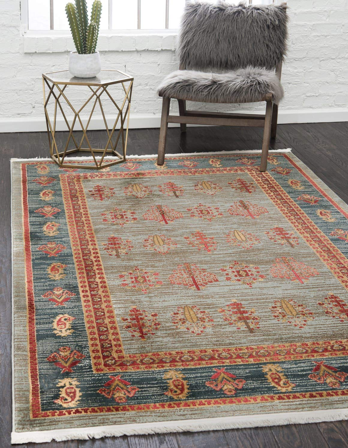 Unique Loom Fars Collection Tribal Modern Casual Light Blue Area Rug 6 0 x 9 0