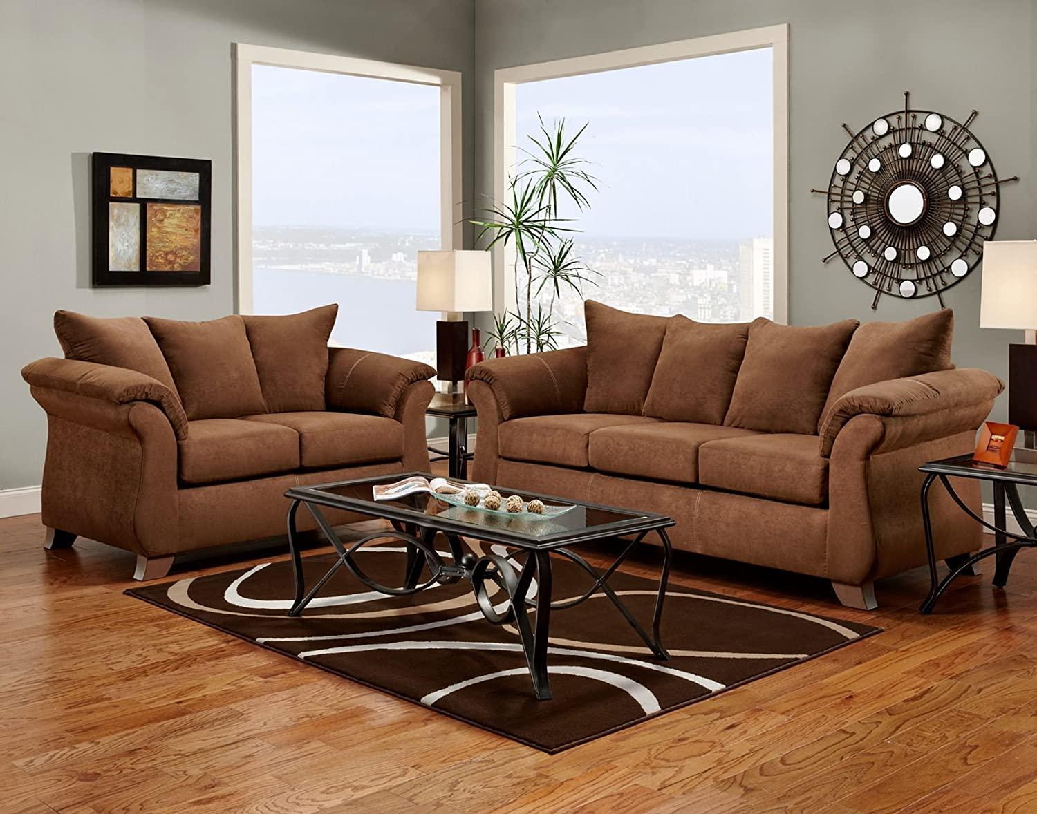Good Amazon.com: Roundhill Furniture Aruba Microfiber Pillow Back Sofa And Loveseat  Set, Chocolate: Kitchen U0026 Dining