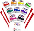 FIMO Soft Polymer Oven Modelling Clay - 10 x 2 oz - Beginners Set - 10 Colours + FIMO Modelling Tools