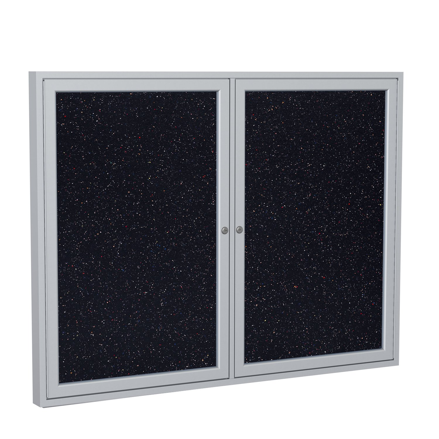 Ghent 36''x48'' 2-Door indoor Enclosed Recycled Rubber Bulletin Board, Shatter Resistant, with Lock, Satin Aluminum Frame, Confetti (PA23648TR-CF) ,Made in the USA