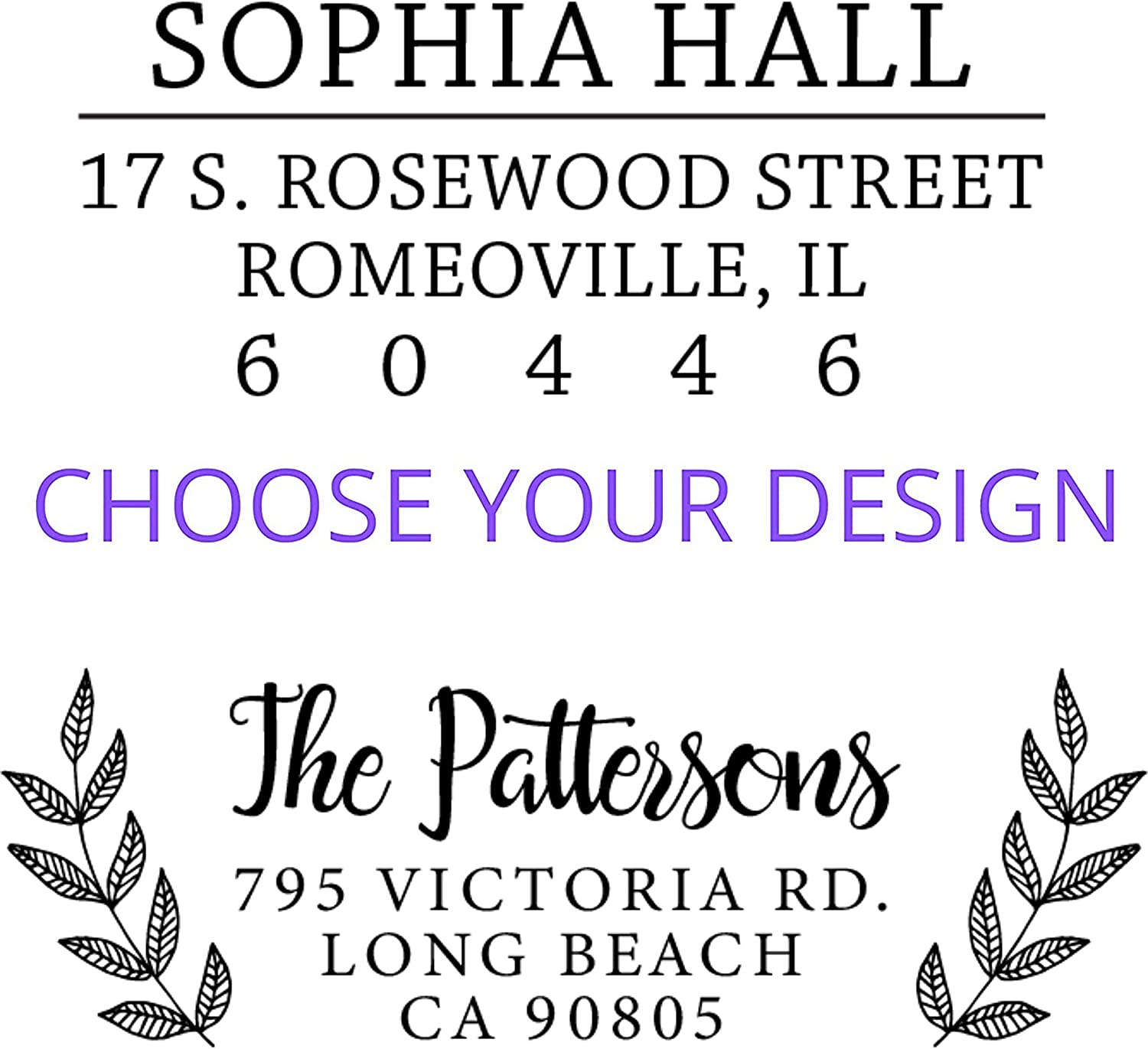 Personalized Return Address Stamp design #18 by Pipsy Wood or Self-Inking