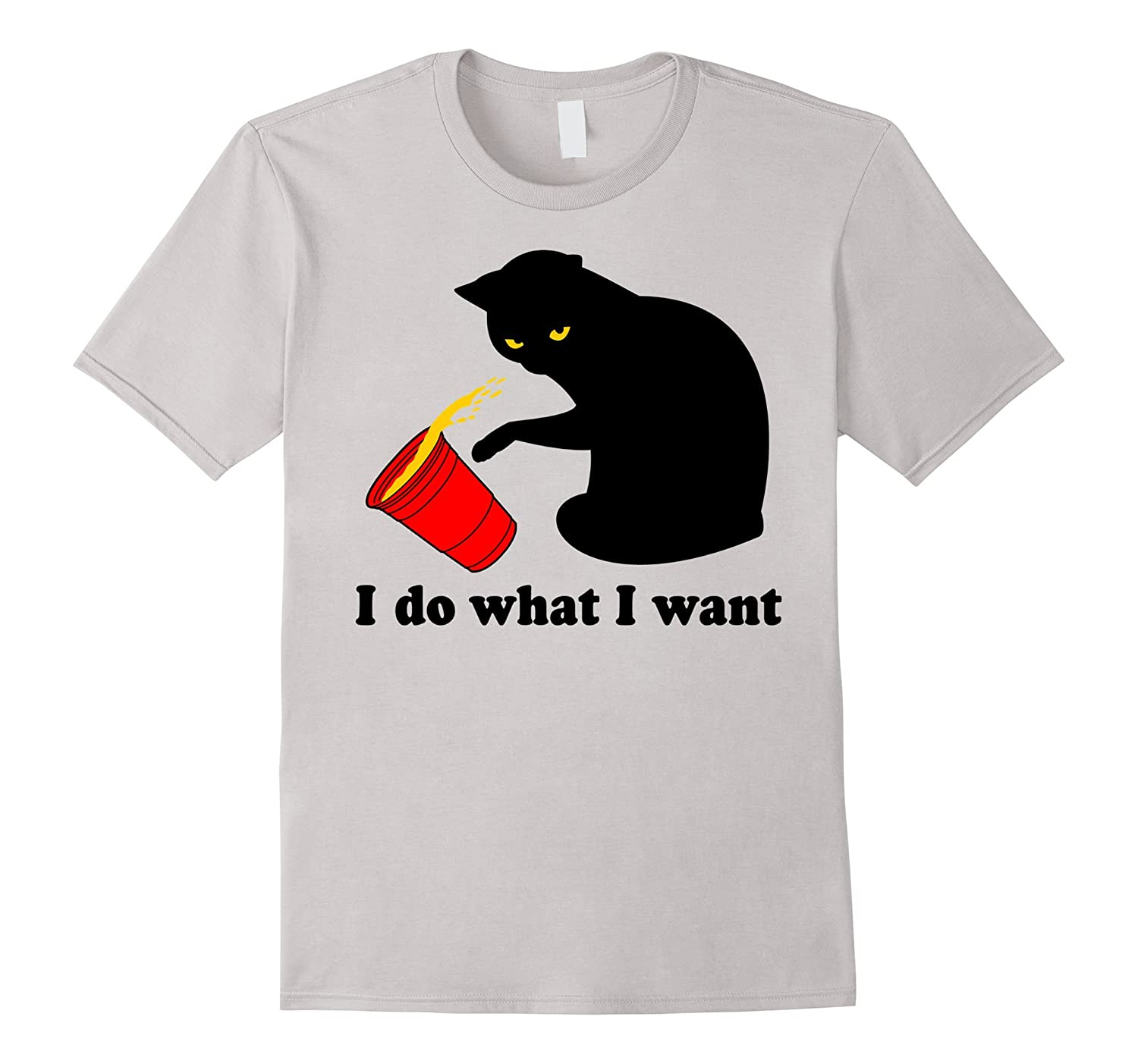 Do What I Want Black Cat Red Cup Funny Graphic T-Shirt-alottee gift