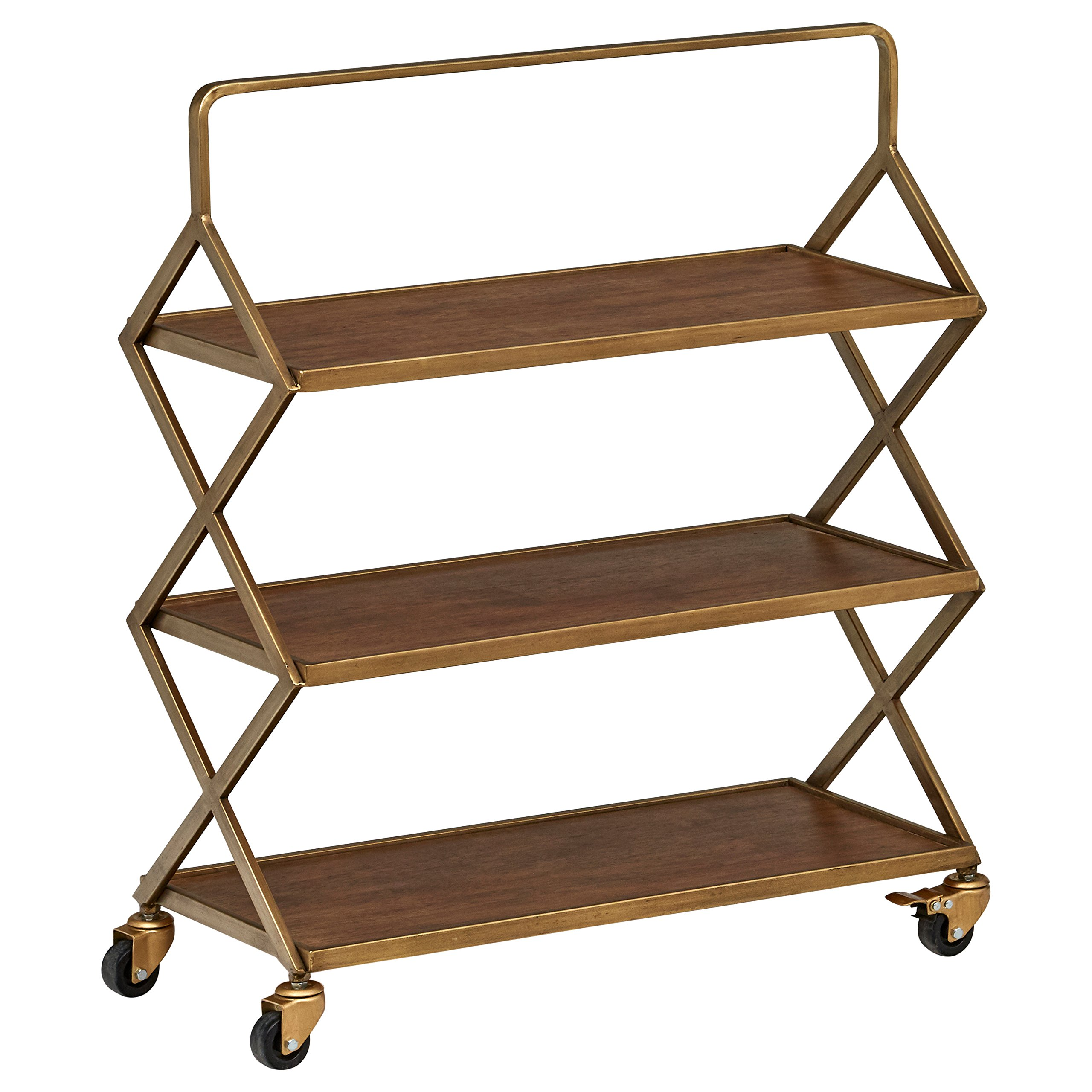 Rivet 3-Tiered Mid-Century Modern Metallic Gold Wood Intersecting Rolling Kitchen Bar Cart with Wheels, 27.9''W, Natural by Rivet