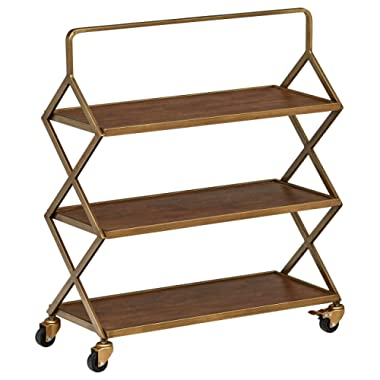 Rivet 3-Tiered Mid-Century Modern Metallic Gold Wood Intersecting Rolling Kitchen Bar Cart with Wheels, 27.9 W, Natural