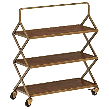 Rivet 3-Tiered Metallic Intersecting Rolling Cart, 27.9 W, Natural