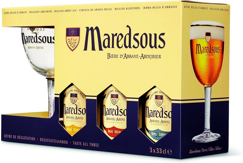 Cerveza Maredsous Pack Promocional De 3 Botellas De 33Cl (2 Blond+1Bruin). + Copa: Amazon.es: Alimentación y bebidas