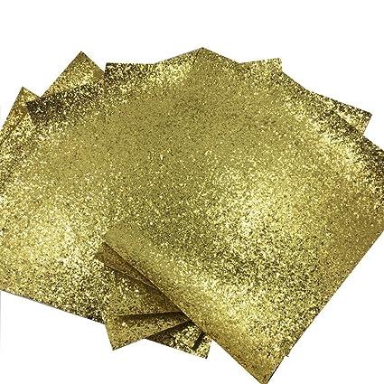 6 Pcs Tela de Brillo Tela Brillante con Purpurina Glitter Tela Gruesa para Manualidades Patchwork DIY Art Craft Trabajo 22*30cm Dorado