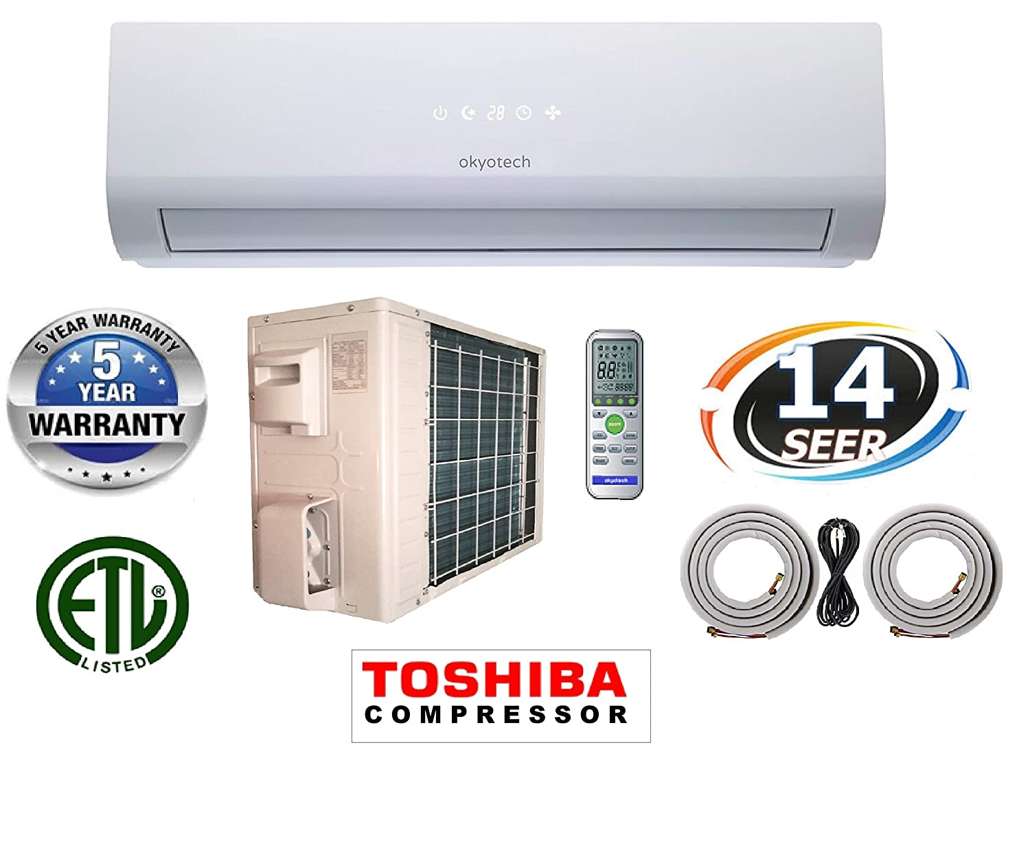 9000 Btu 3 4 Ton 14 Seer Ductless Mini Split Air Wiring Diagram Ac Changhong Conditioner Cool And Heat With Full Installation Set Home Kitchen