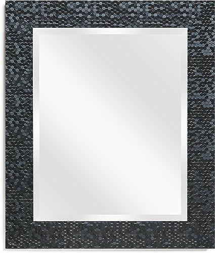 Wall Beveled Mirror Framed – Bedroom or Bathroom Rectangular Frame Hangs Horizontal Vertical by EcoHome 27×33, Black