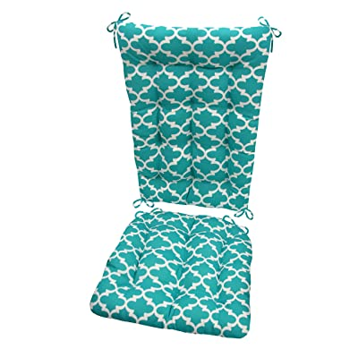 Barnett Products Fulton Aqua Porch Rocker Cushions - Standard - Indoor/Outdoor: Fade Resistant, Mildew Resistant - Latex Foam Filled Cushion - Reversible, Made in USA (Teal/White, Quatrefoil) : Garden & Outdoor