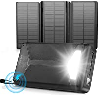Solar Power Bank 26800mAh, Damipow Portable Wireless Charger Foldable Solar Panel Charger 4 Outputs 5V/3A USB Type C…