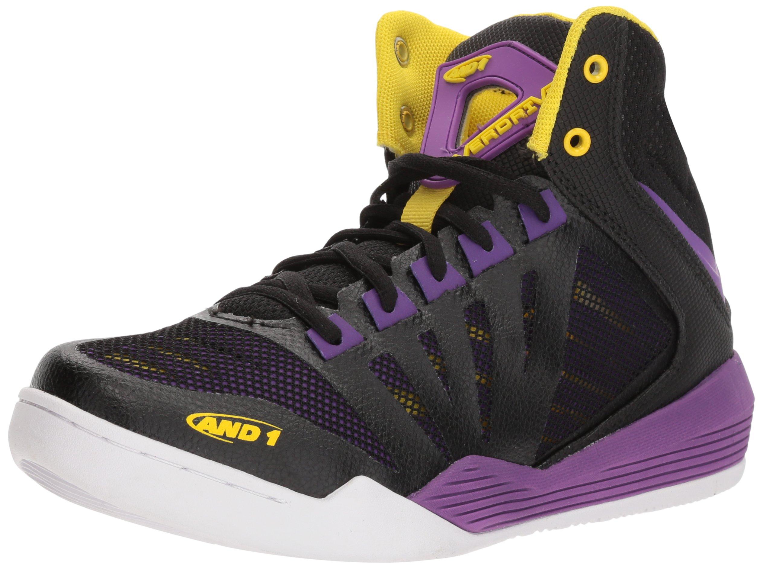 AND1 Women's Overdrive Basketball Shoe, Black/Amaranth Purple/Vibrant Yellow, 8 M US