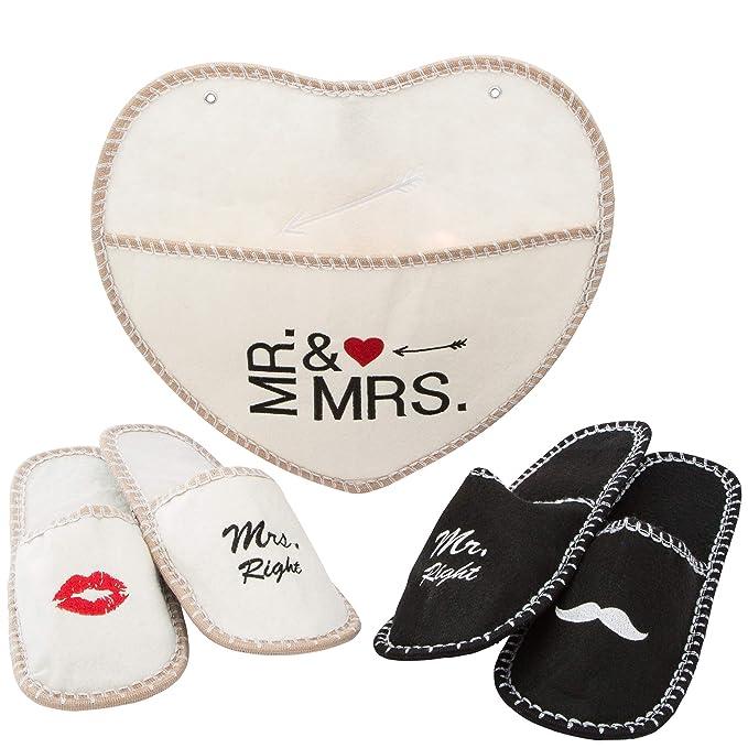 Levivo Juego de 5 piezas, zapatillas Mr. & Mrs. de fieltro, para