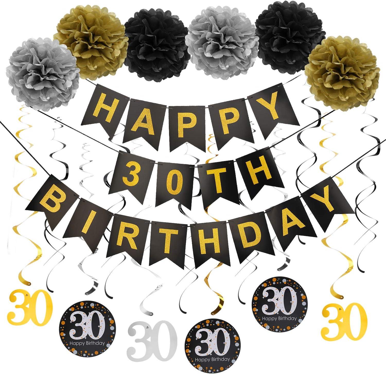 Luxiocio Happy 30th Birthday Decorations Kit - 19Pcs Thirty Birthday Party Decorations Supplies - Including 1Pcs Happy 30th Birthday Banner, 12Pcs Sparkling Hanging Swirl, 6Pcs Poms
