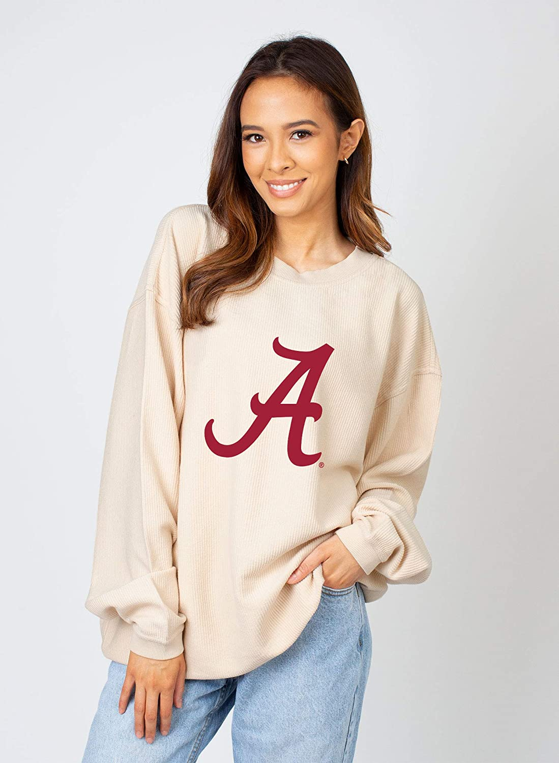 chicka-d NCAA womens Corded Crew Team Sweatshirt