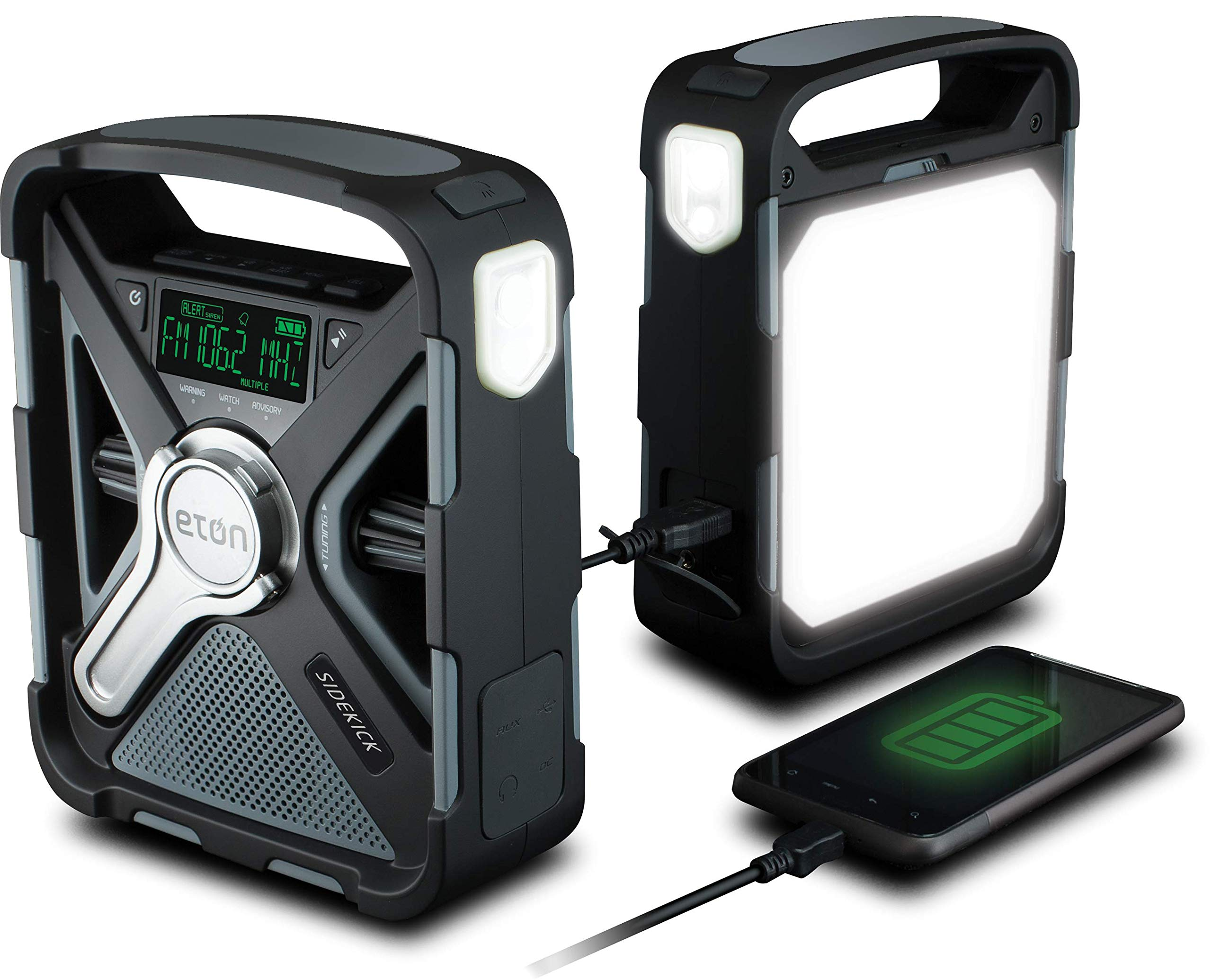 Eton Ultimate Camping AM/FM/NOAA Radio with S.A.M.E Technology, Smartphone Charging, Bluetooth, Giant Ambient Light and Solar Panel, NFRX5SIDEKICK by Eton