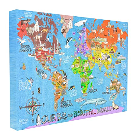 Amazon stupell home dcor our big beautiful world map stupell home dcor our big beautiful world map stretched canvas wall art 16 x 15 sciox Images