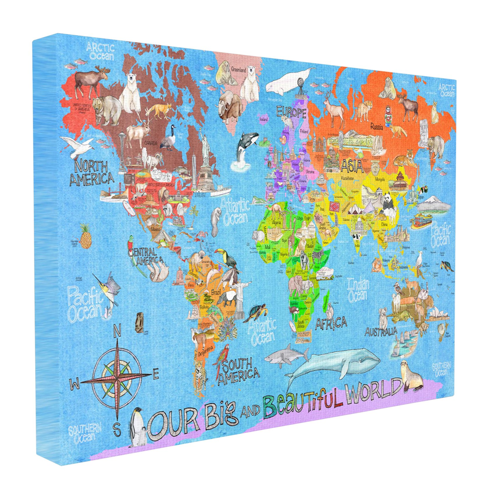 The Kids Room by Stupell Stupell Home Décor Our Big Beautiful World Map Stretched Canvas Wall Art, 16 x 1.5 x 20, Proudly Made in USA