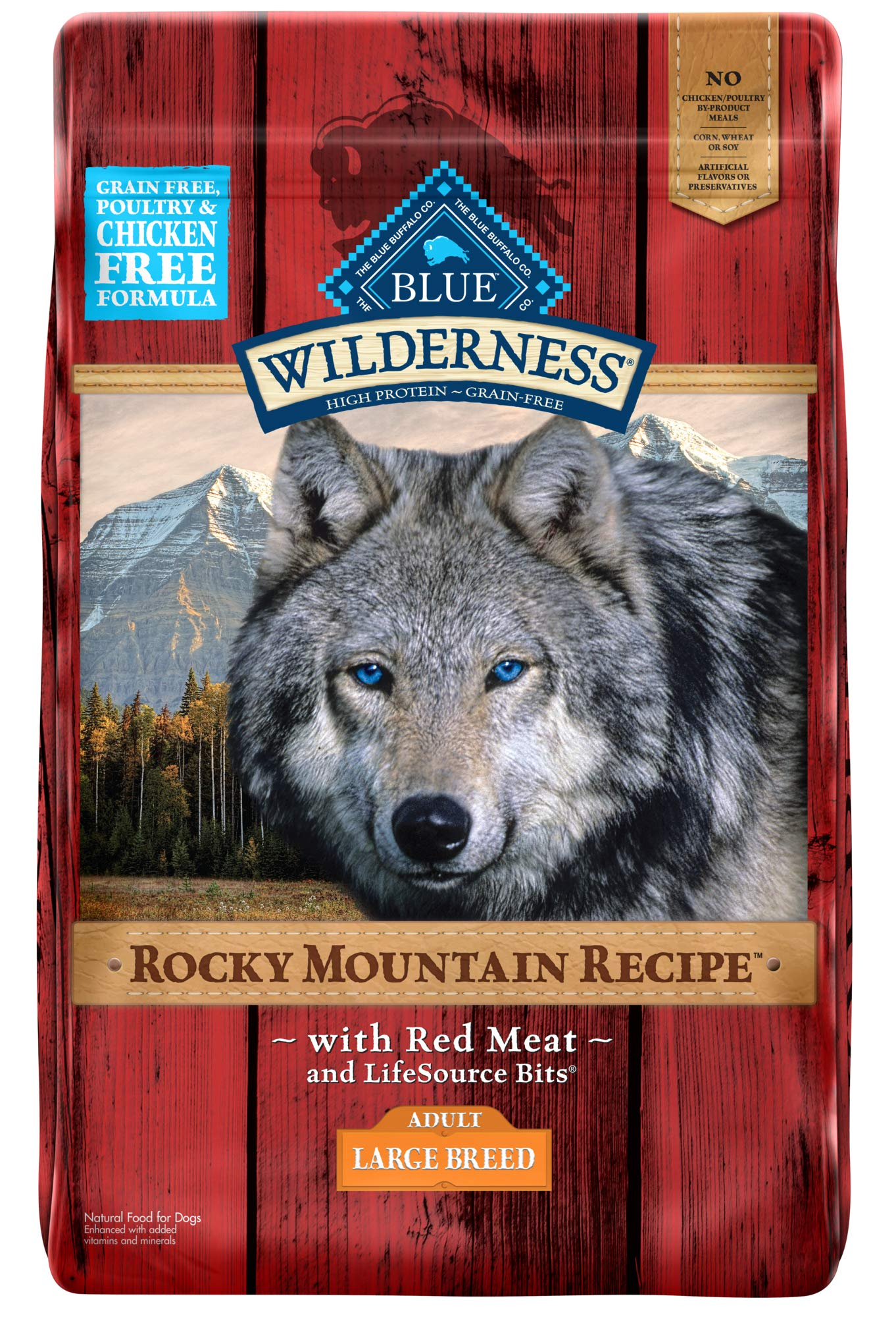 Blue Buffalo Wilderness Rocky Mountain Recipe High Protein Grain Free, Natural Adult Large Breed Dry Dog Food, Red Meat 22-lb by Blue Buffalo