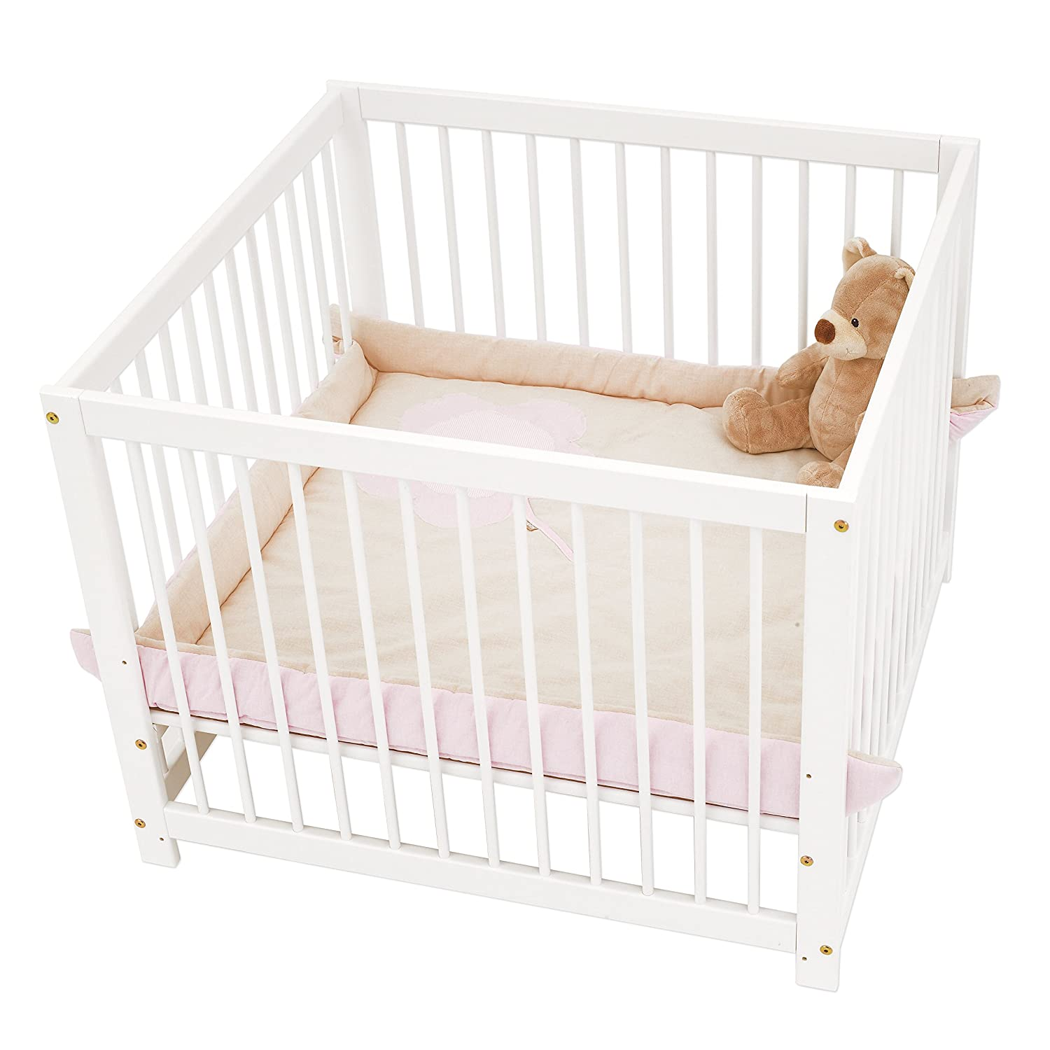 Hoppekids Solid Pinewood IDA Playpen with Bars Adjustable In 3 Different Heights, Wood, White MARIE Playpen