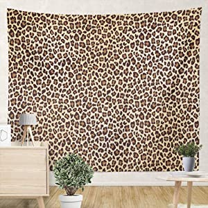 YUEMT Tapestries Wild Brown Animal Leopard Print 82.7x59.1 Inch Living Room Bedroom Dormitory Wall Hanging Tapestry Art Decoration (Set of 1)