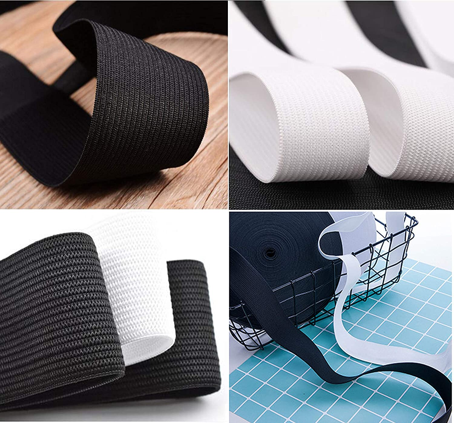 Black and White 5.5 Yard//Roll 1-1//2 inch Wide 1 inch 22 Yards Knit Elastic Spool 2 Color 2 Size 4 Rolls Heavy Stretch High Elasticity Sewing Elastic Band Cord for Wigs Pants Underwear DIY Craft